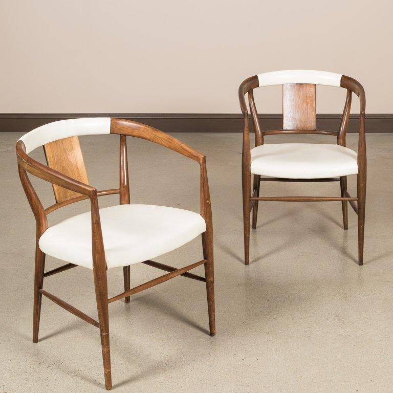 Pair Teak and Vinyl Barrel Chairs
