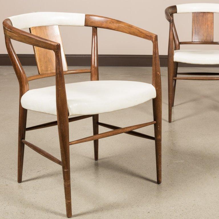 Pair Teak and Vinyl Barrel Chairs - 2