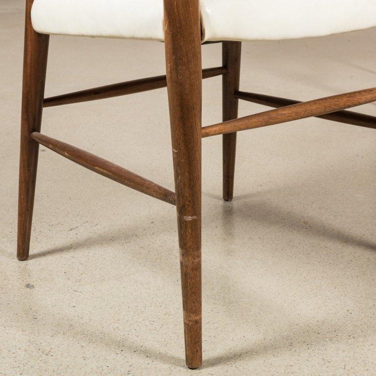 Pair Teak and Vinyl Barrel Chairs - 3