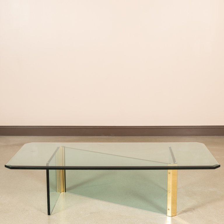 Pace Brass and Glass Coffee Table