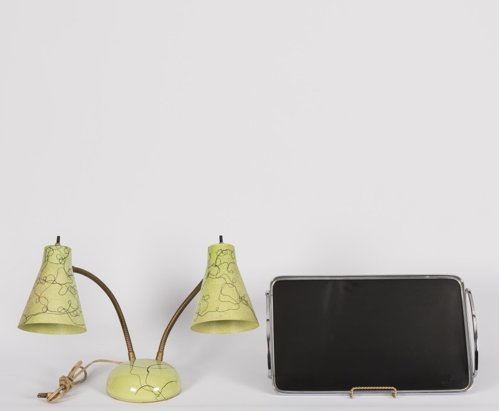 Modern Two Light Desk Lamp and Tray
