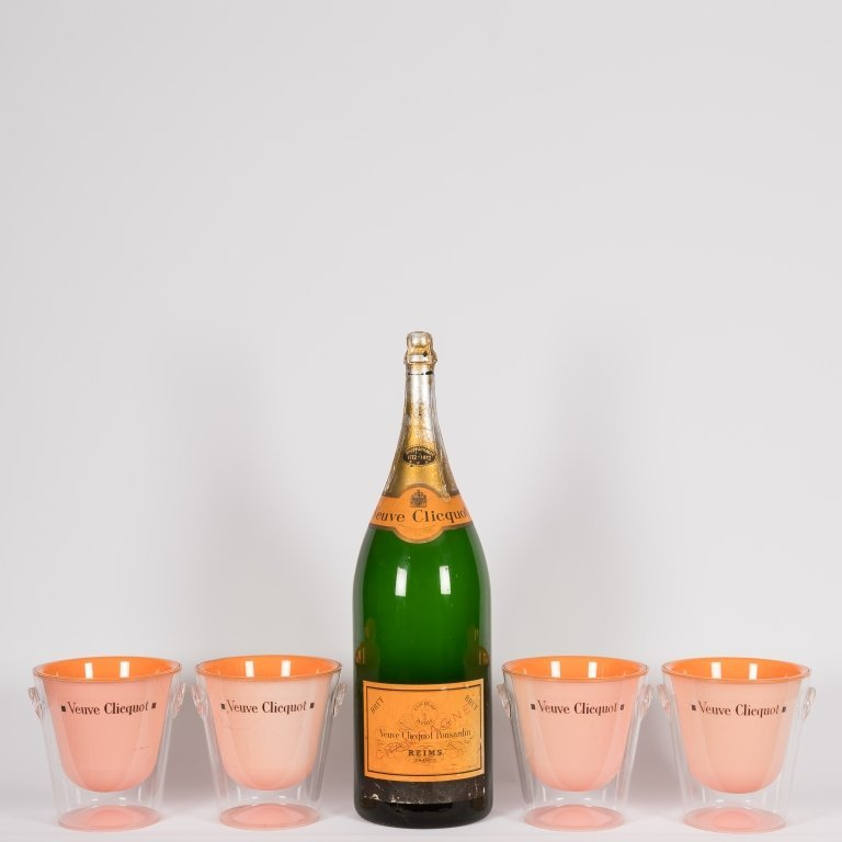 Group of Lucite Ice Buckets and Champagne Bottle