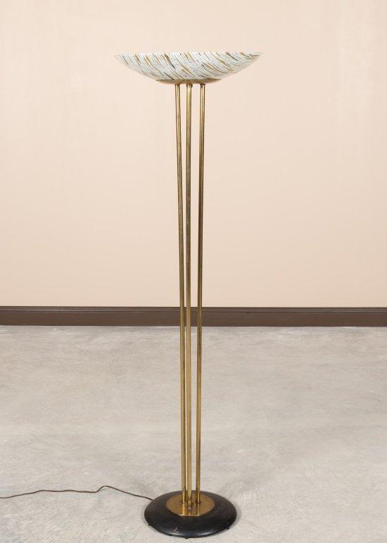 Modern Brass Floor Lamp with Art Glass Shade