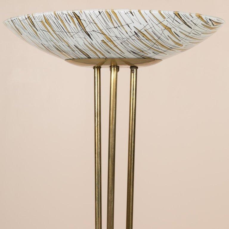 Modern Brass Floor Lamp with Art Glass Shade - 2