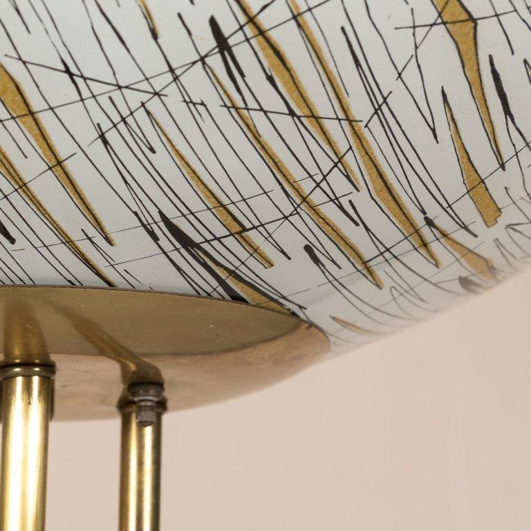 Modern Brass Floor Lamp with Art Glass Shade - 4