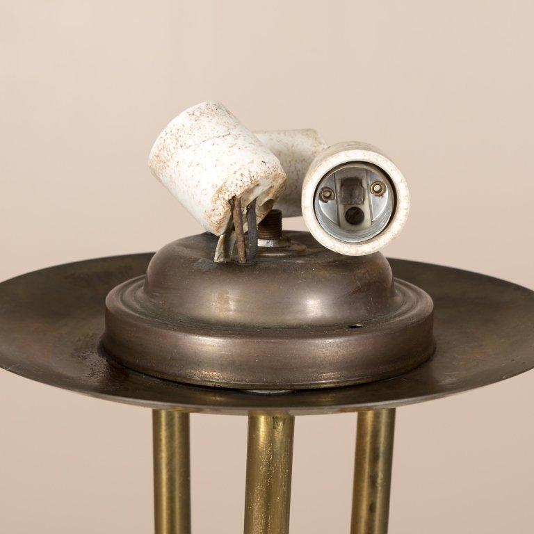 Modern Brass Floor Lamp with Art Glass Shade - 5