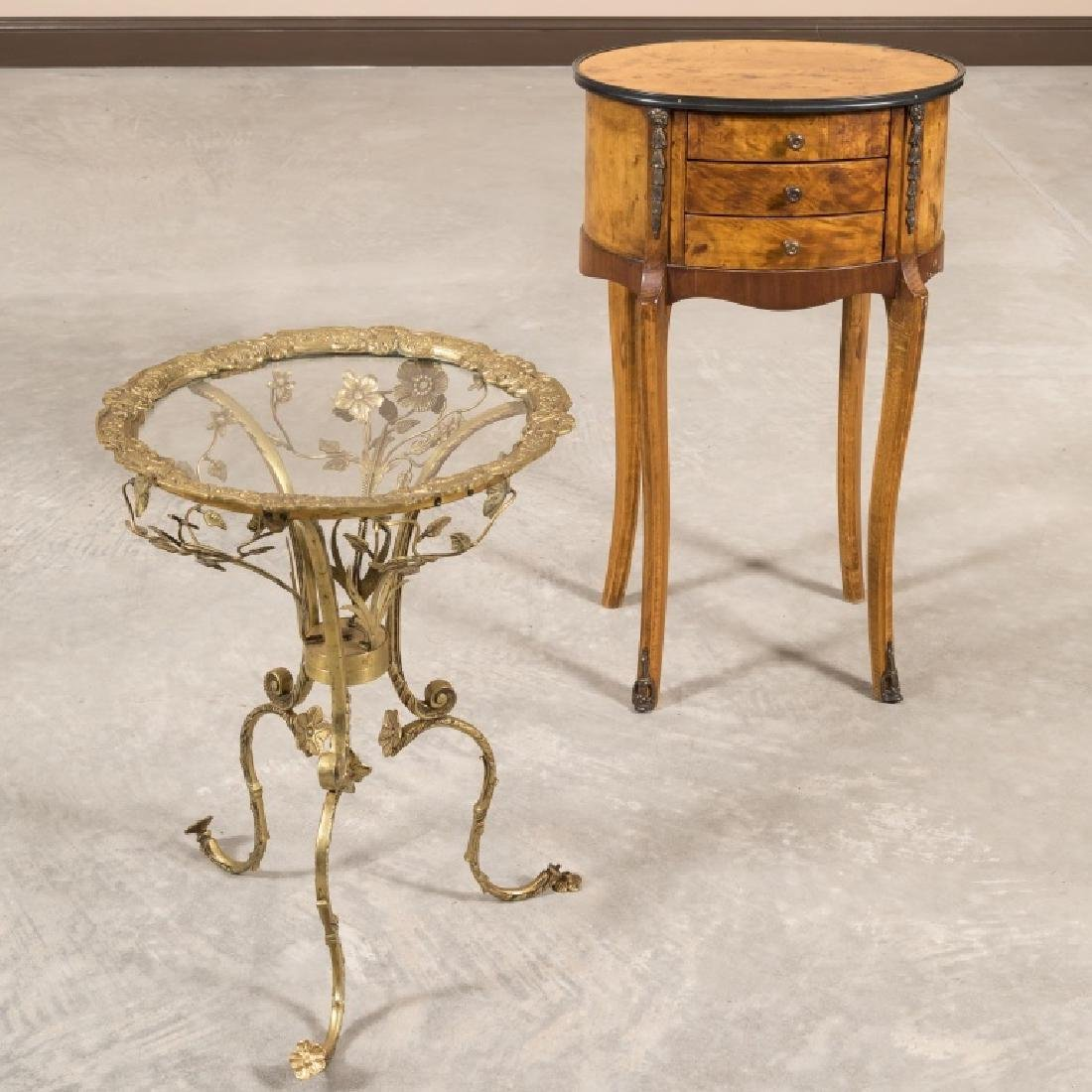 French Stand and Brass Floral End Table