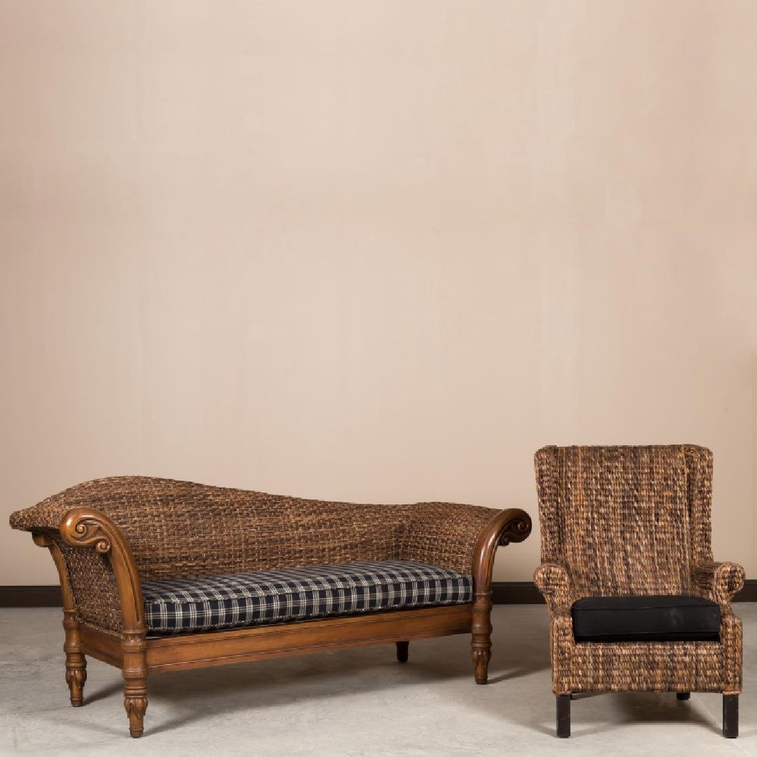 Crate and Barrel Recamier Sofa and Wing Chair
