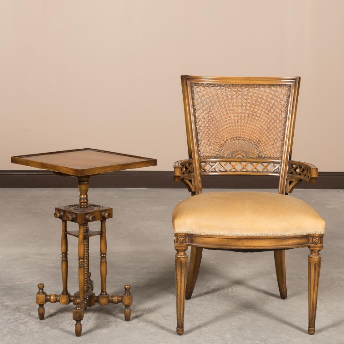 French Arm Chair and Victorian Stand