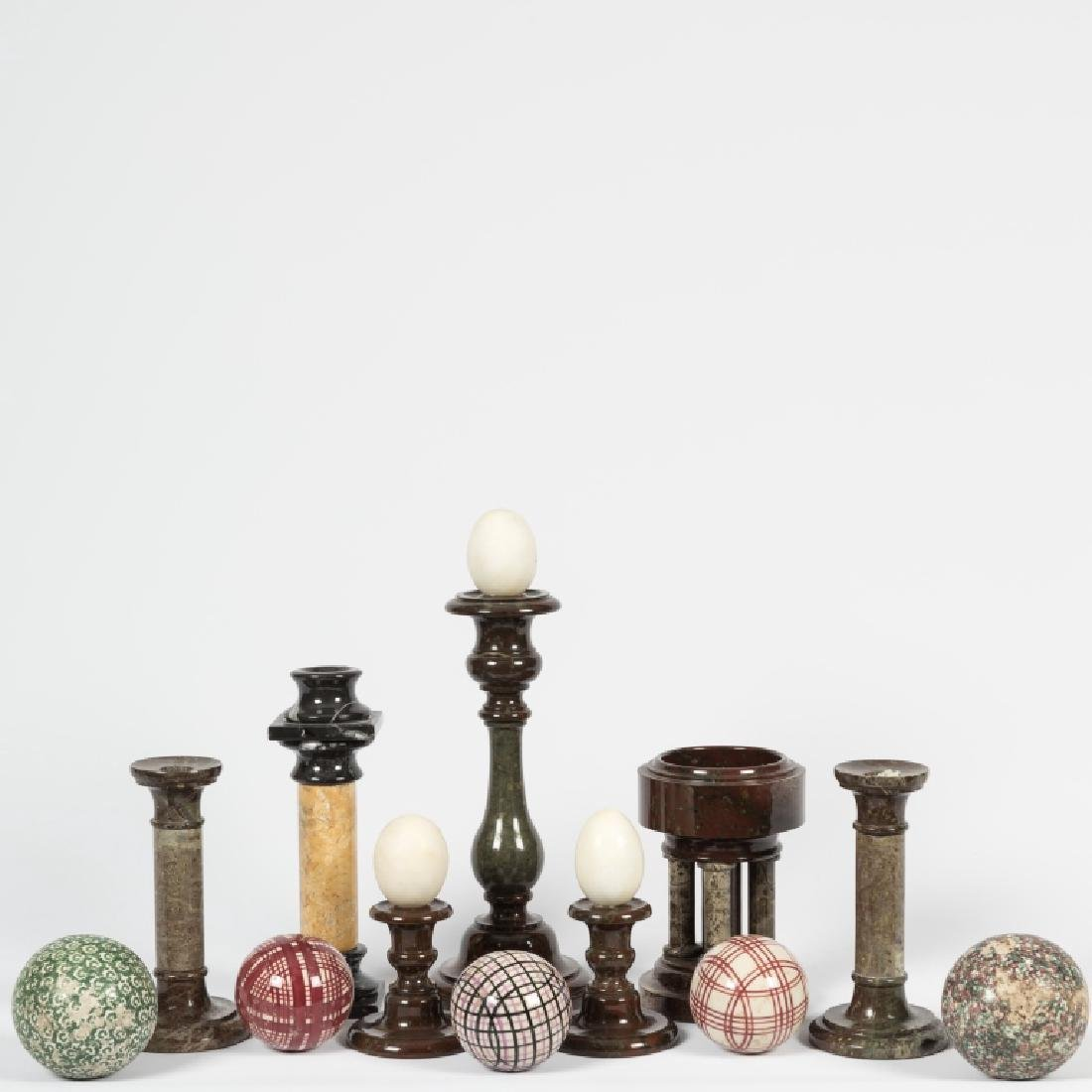 Group Marble Candlesticks and Carpet Balls