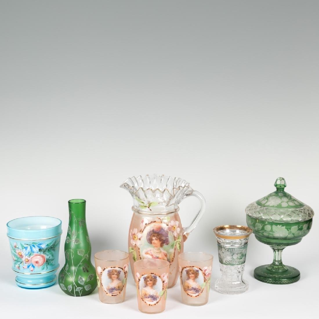 Group of Victorian and Bohemian Glass
