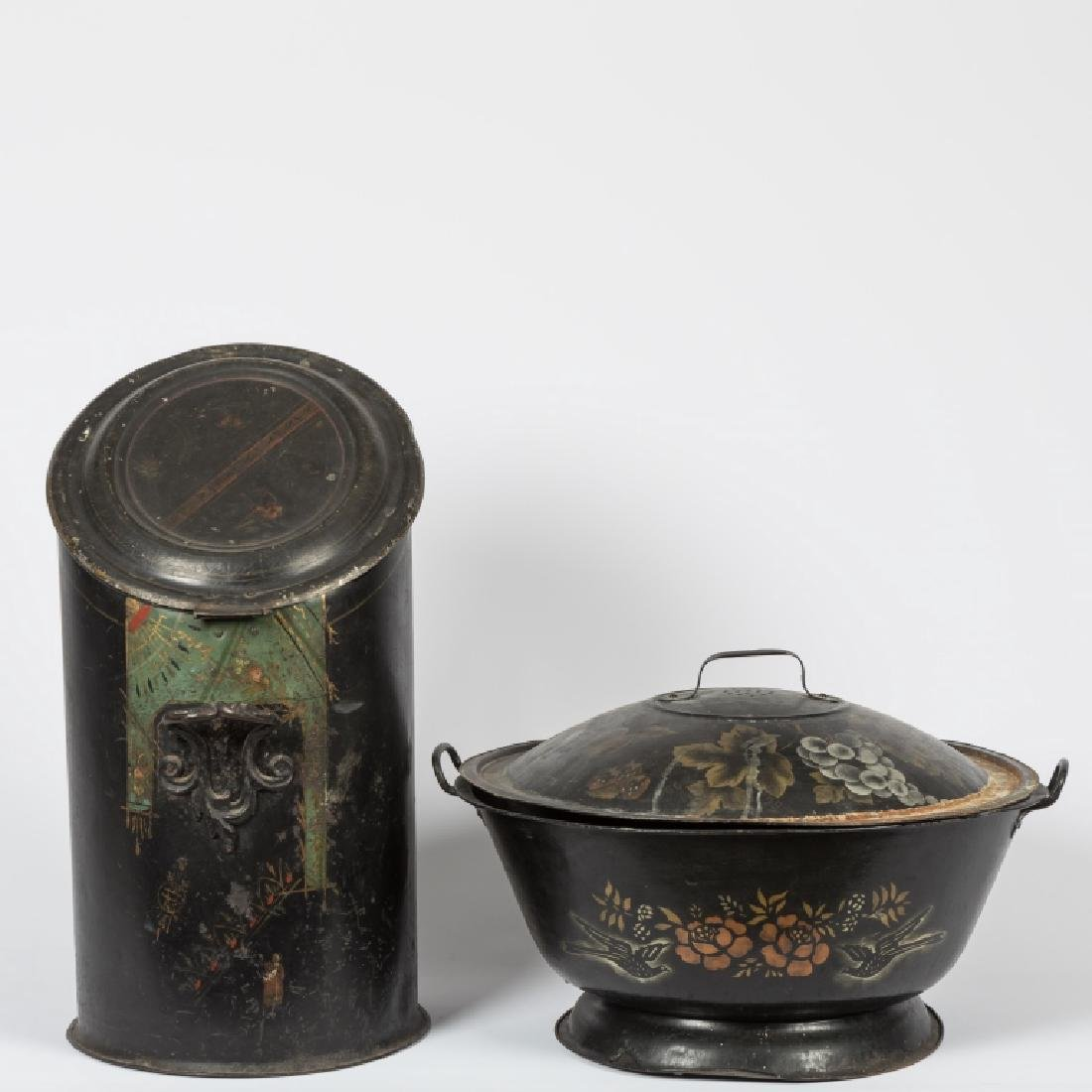 Tole Coal Scuttle and Tole Covered Bowl