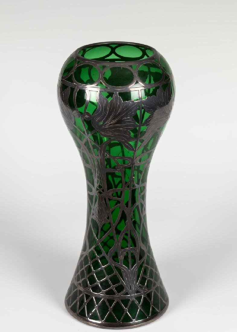 "Silver Overlay Green Vase - 12"" Tall"