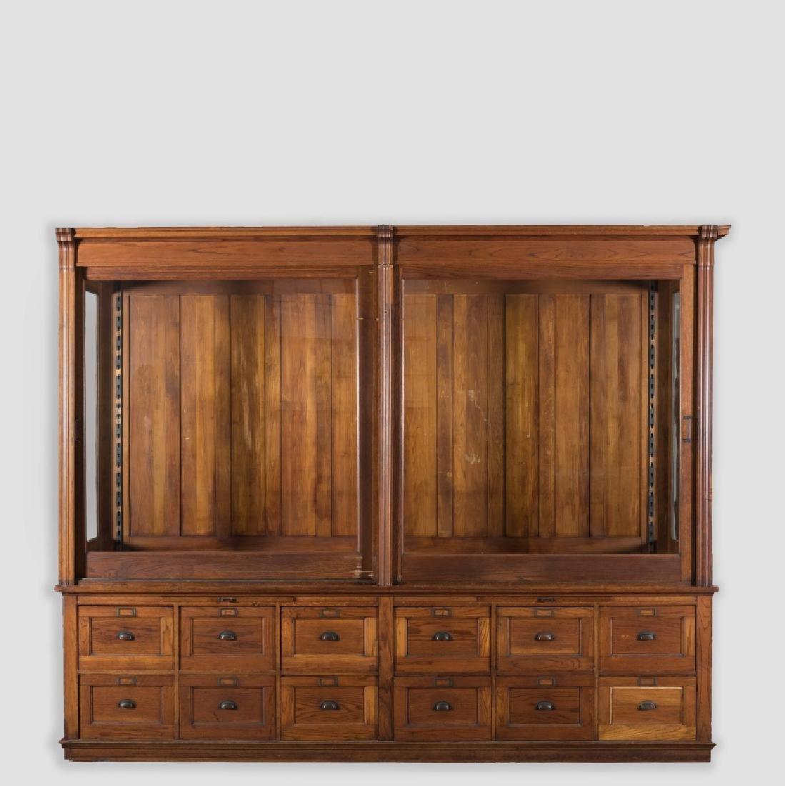Massive Victorian Oak Display Cabinet