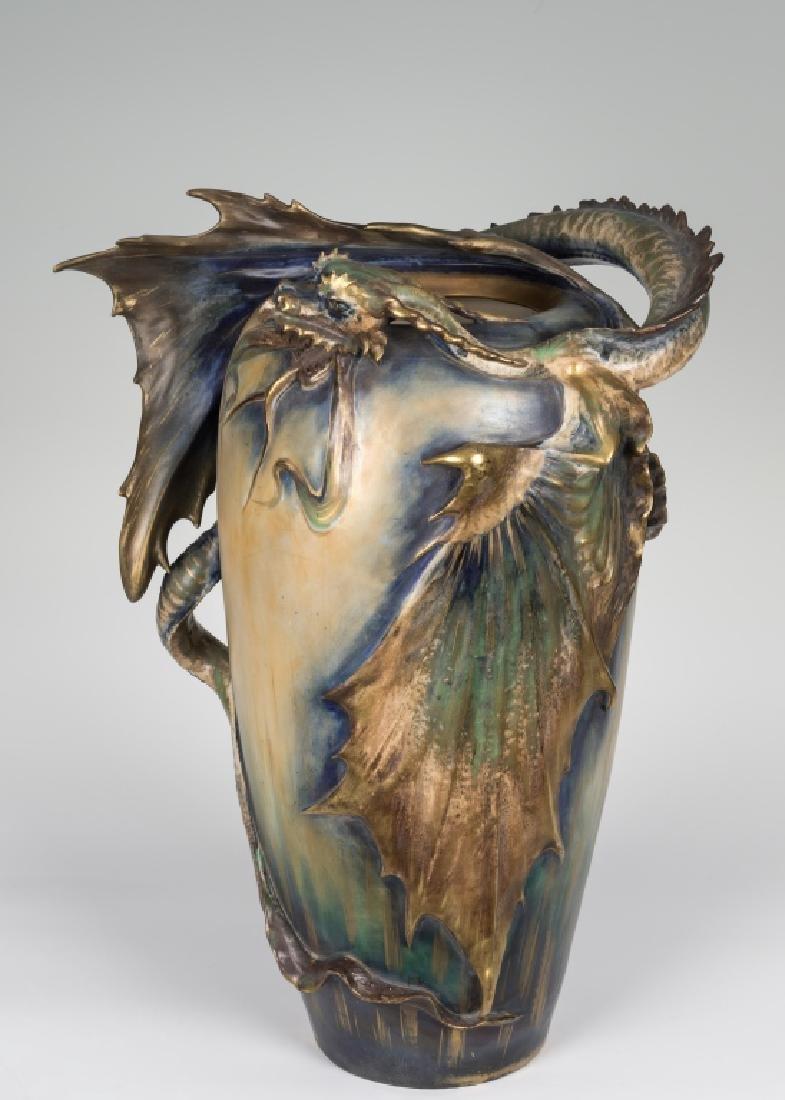 Large Amphora Dragon Vase - Signed