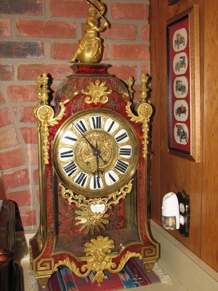 368: Tortisique Shell inlay mantle clock, Churet Harris - 2