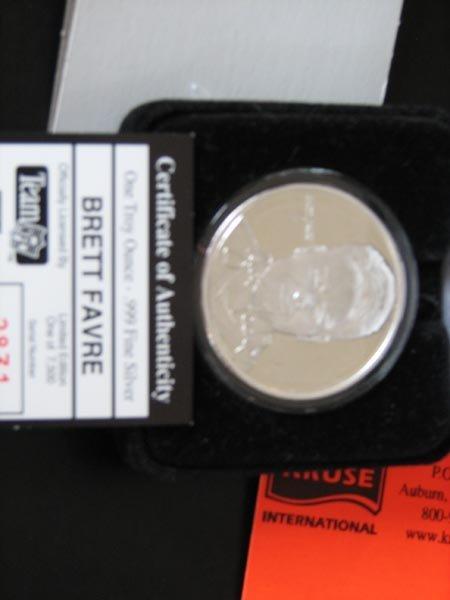 191: Brett Favre Highland Mint One Troy Ounce  .999 Fin