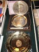 891: Three collector plates: Brass Bicentennial Plate