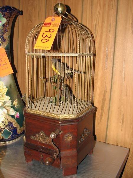 930: Antique mechanical bird in cage - windup 2 birds c