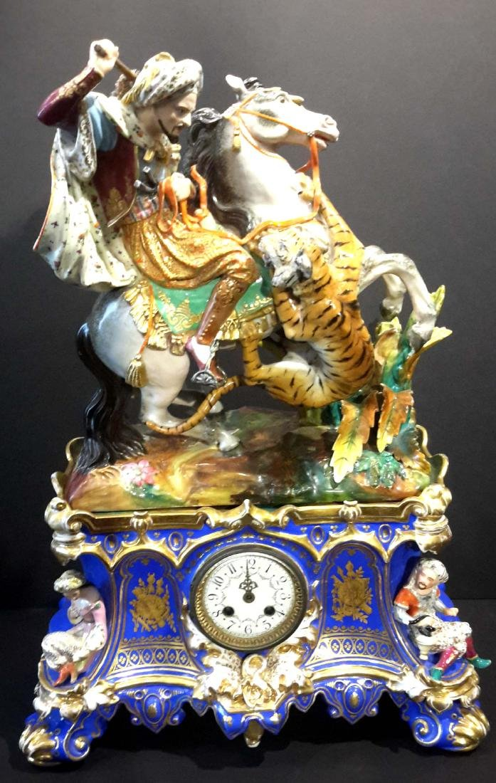 Monumental Turkish Market Jacob Petit Porcelain Clock