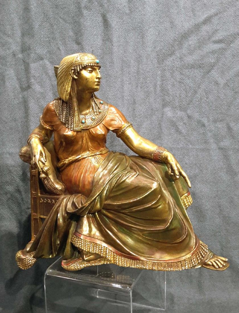 19C. French Cold Painted Bronze Of Egyptian Figure,