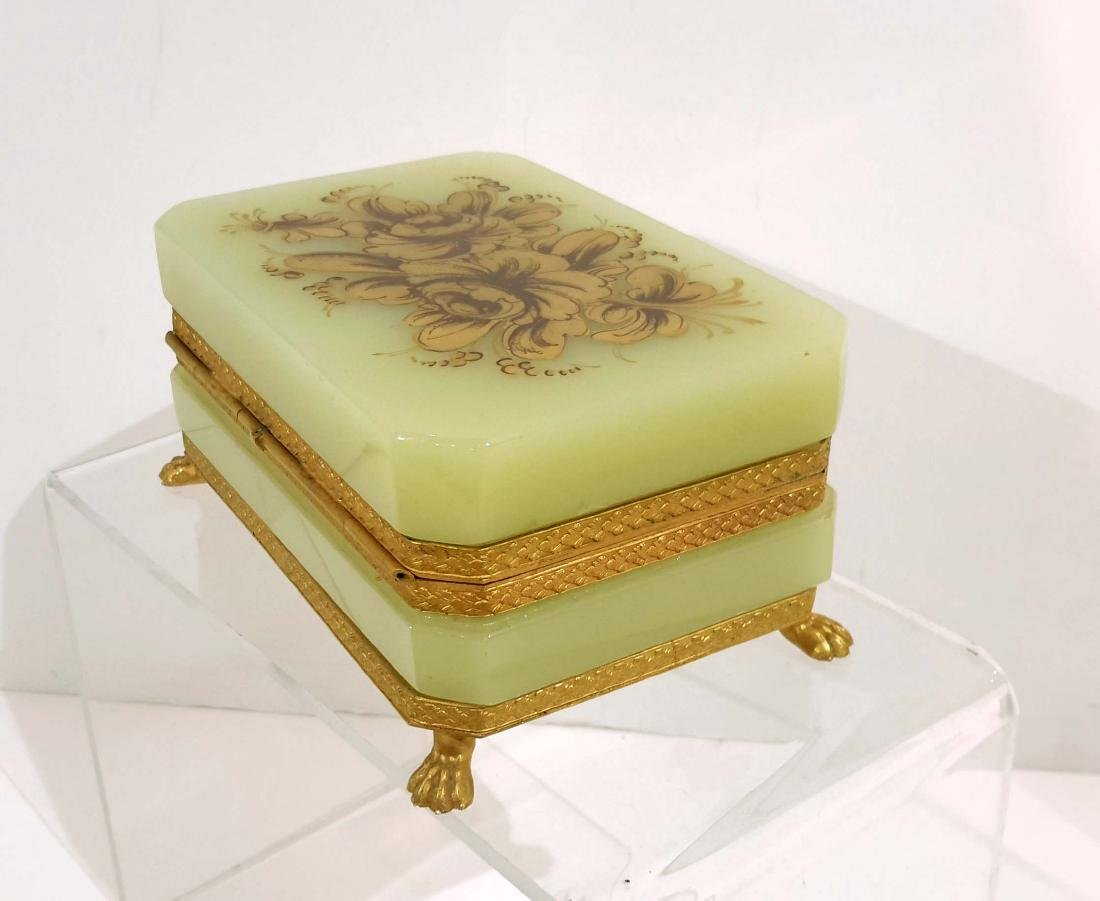 Gilt Bronze Mounted Opaline Glass Jewelry Box
