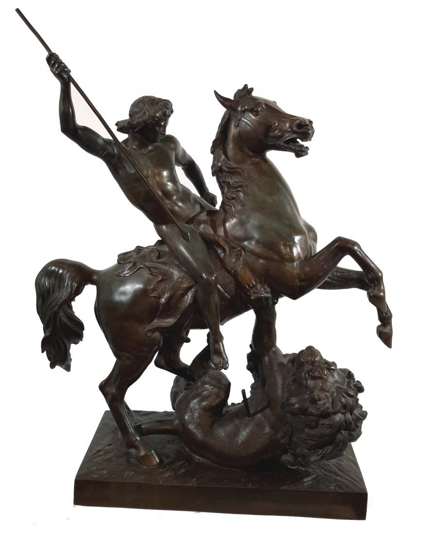 19th Century Sculpture group of Rider and Lion