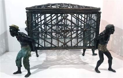 Rare Vienna Bronze Polychromed Figural Tantalus/ Box