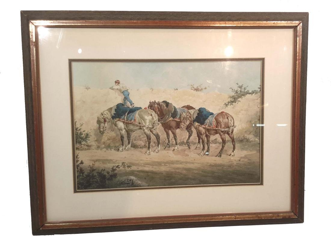 Signed: Emile Tolly original watercolor 19C.