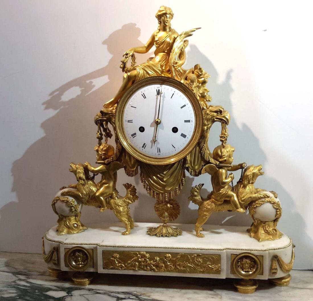 Important Gilt Bronze and Marble Mantel Clock