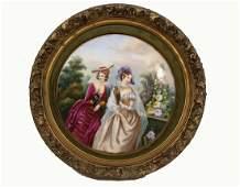Framed Continental Porcelain Plaque 19C.