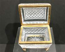 Antique Ormolu Mounted Cut Crystal French Jewelry Box
