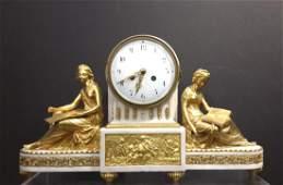Louis XVI Style Marble and Gilt Bronze Mantel Clock,