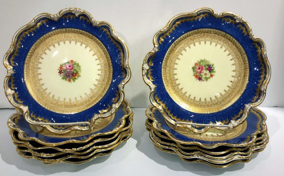 Set of 12 English Porcelain Dessert Plates George Jones