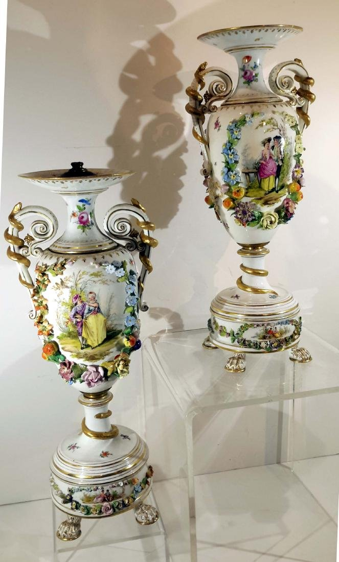 Pair of Highly Decorated Carl Thieme Dresden Porcelain