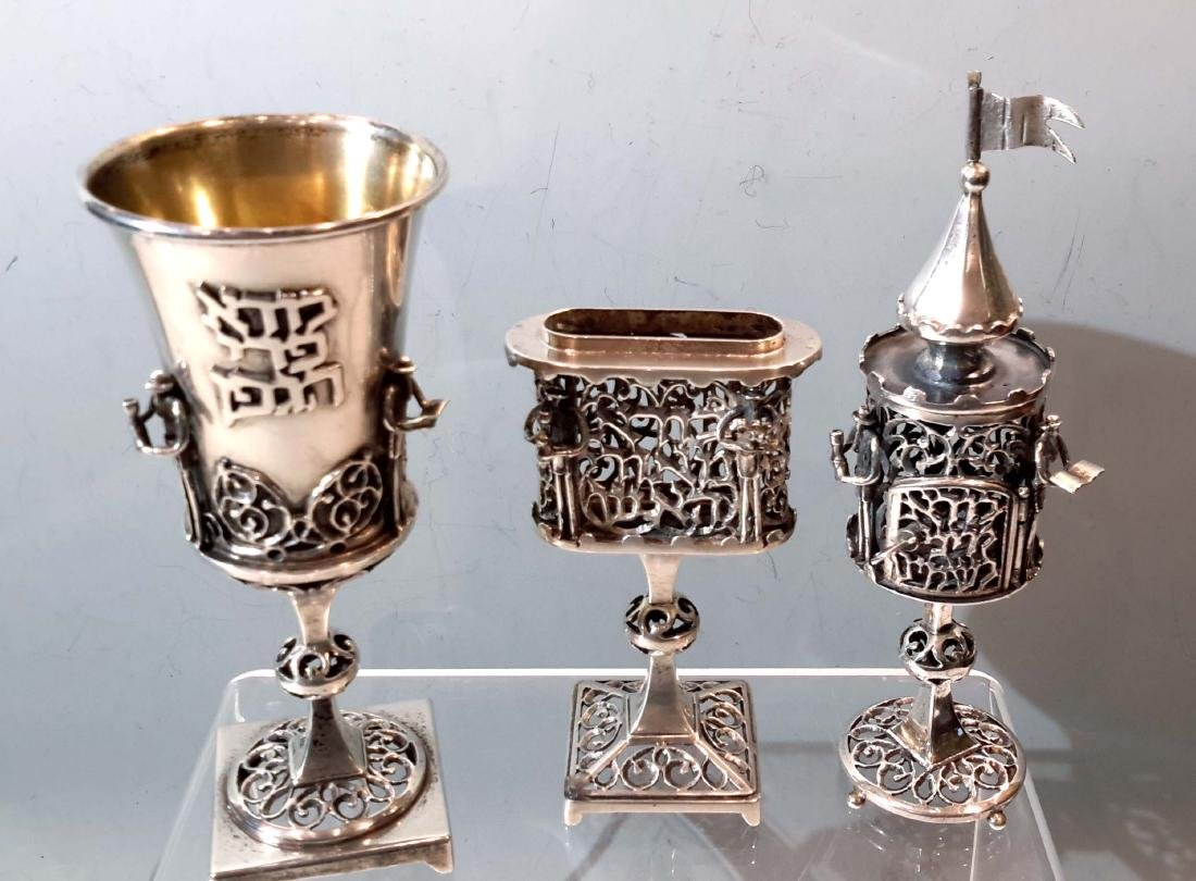 Group of 3 Judaica Sterling Silver Shabbat Items