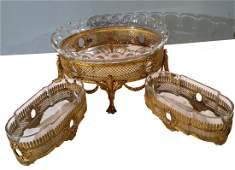 Three Piece Crystal and Bronze Centerpiece Garniture