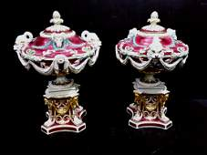 Rare Pair of Crimson Chelsea Porcelain Urns