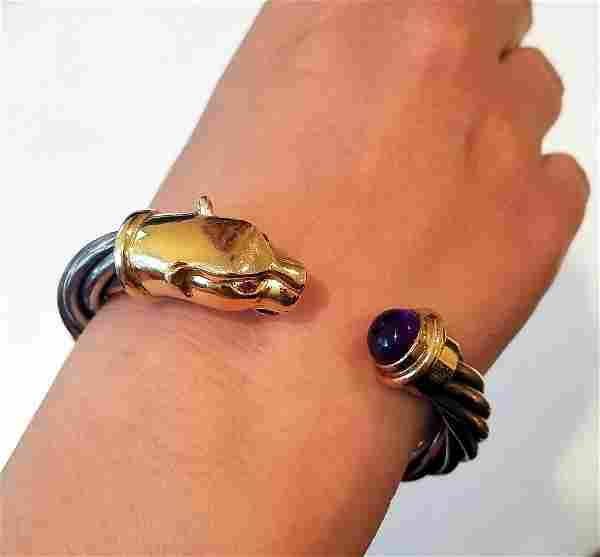 Vintage 14k Gold and Sterling silver Panther Cuff