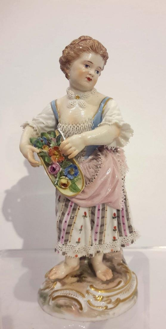 Meissen Porcelain Figure of Girl with Flowers, 19th