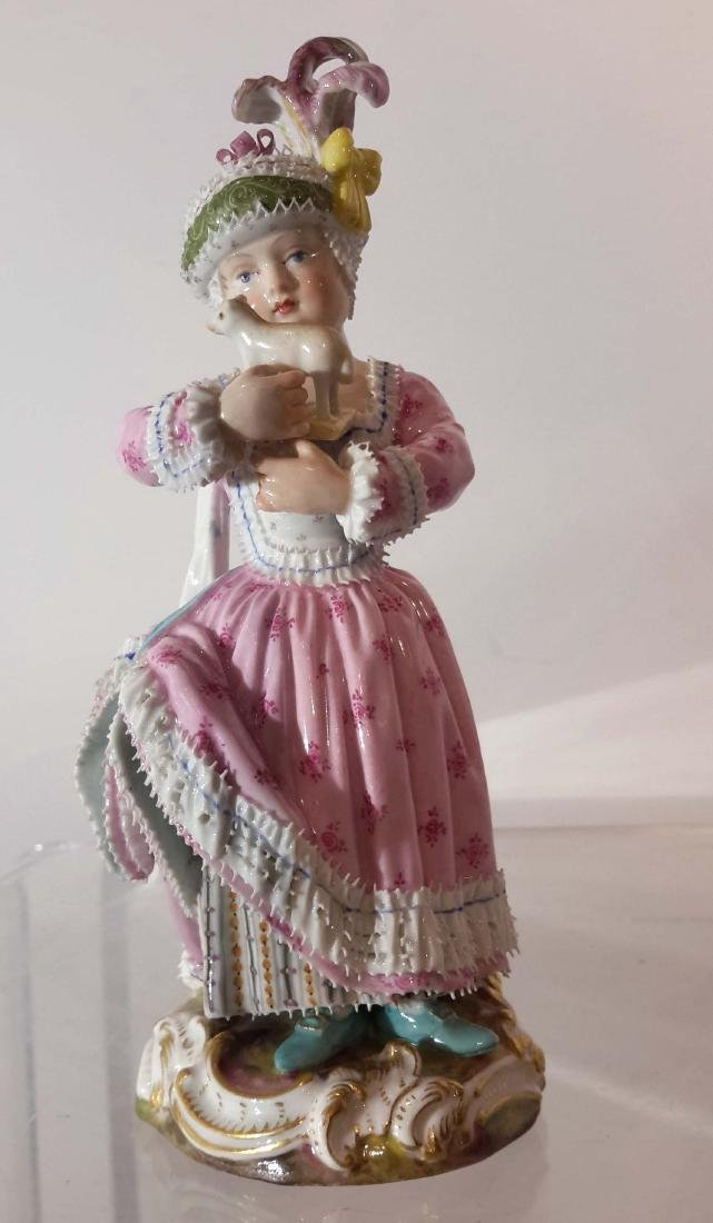 Adorable Meissen Porcelain Figure of a Girl with Her