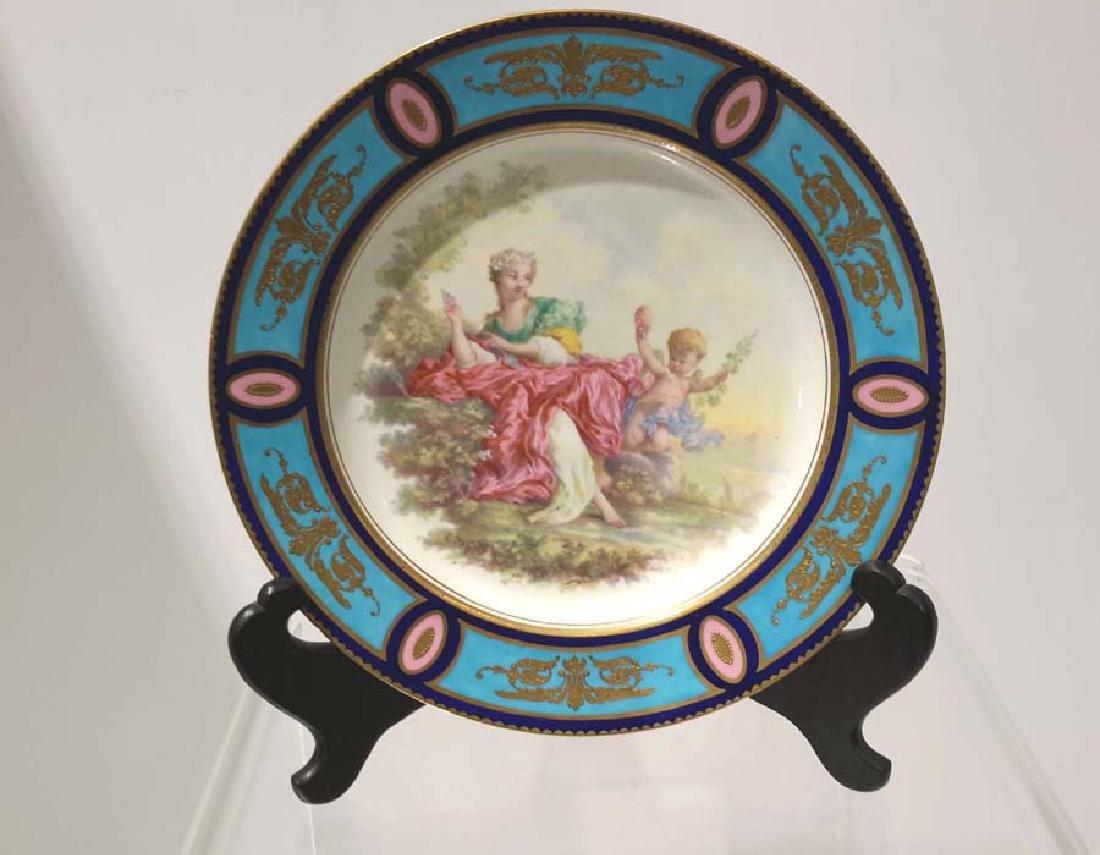 Rare Sèvres Porcelain Cabinet Plate, Artist Signed L.