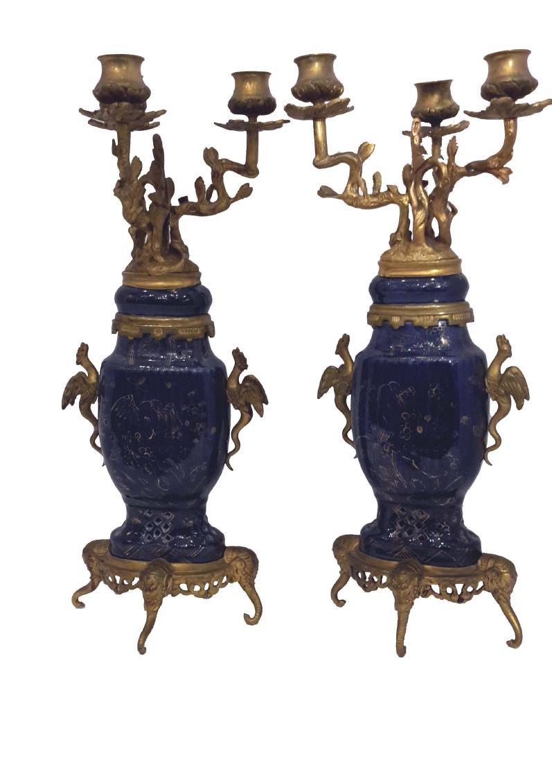 Pair of Japonisme Ormolu Mounted Porcelain Candelabras,