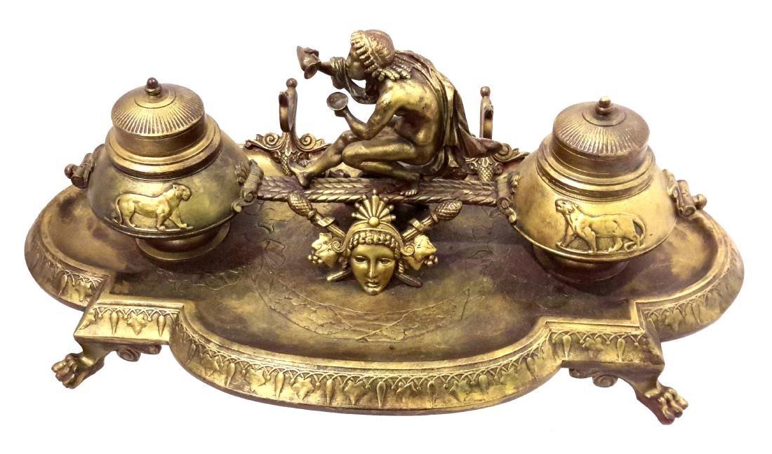 Neoclassical Grand Tour Bronze Inkwell, 19th Century