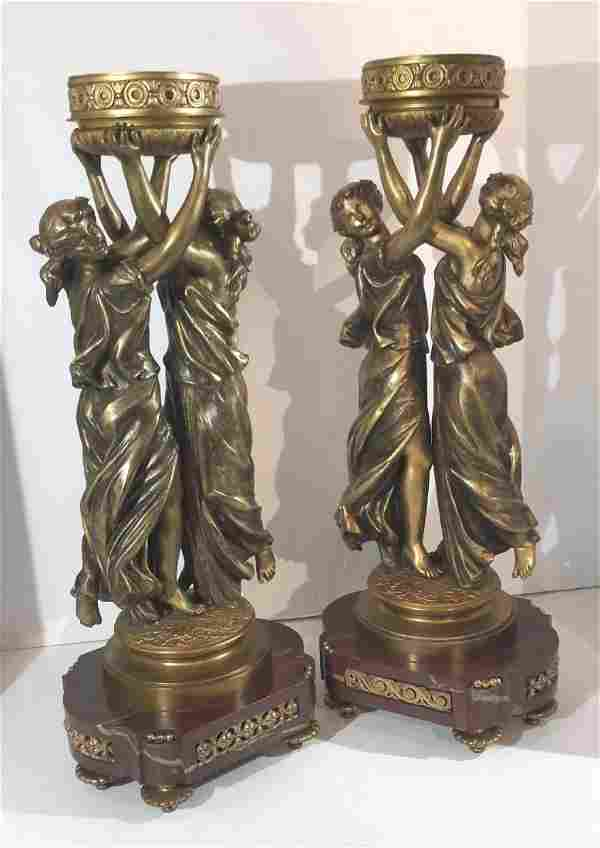 Pair of Louis VXI Style, Bronze and Marble Lamp Bases