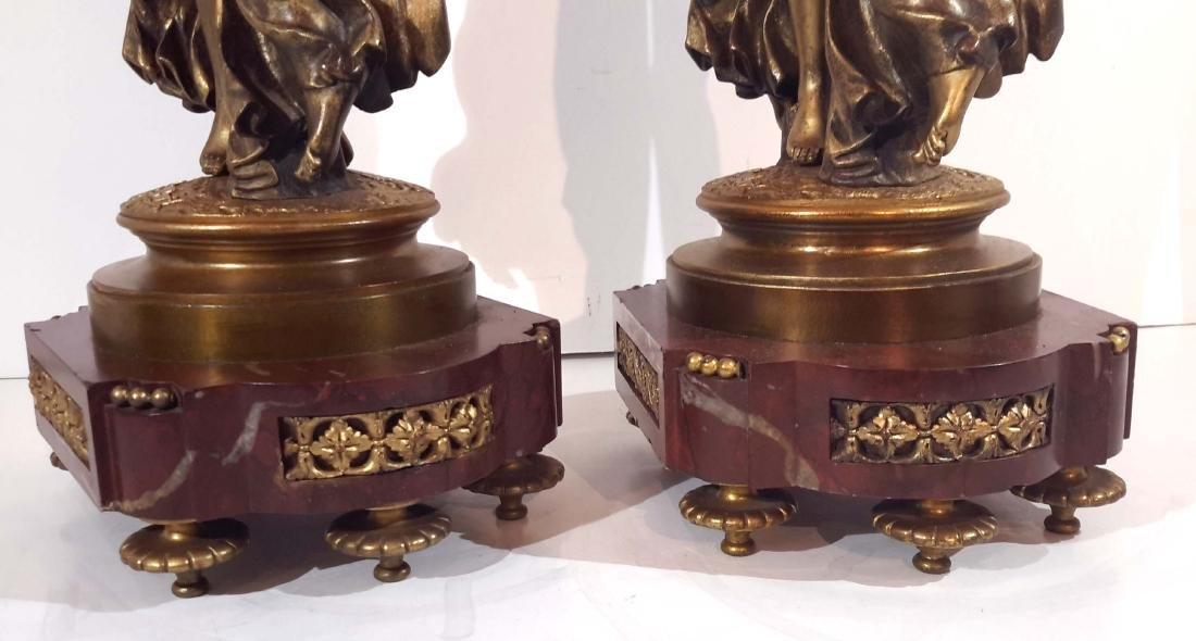 Pair of Louis VXI Style, Bronze and Marble Lamp Bases - 4