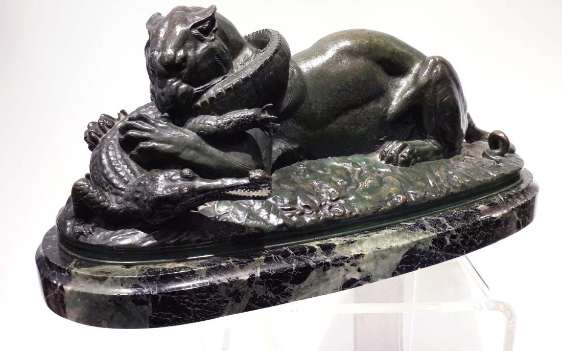 "Antoine-Louis Barye, ""Tiger Devouring a Gavial,"" Bronze"