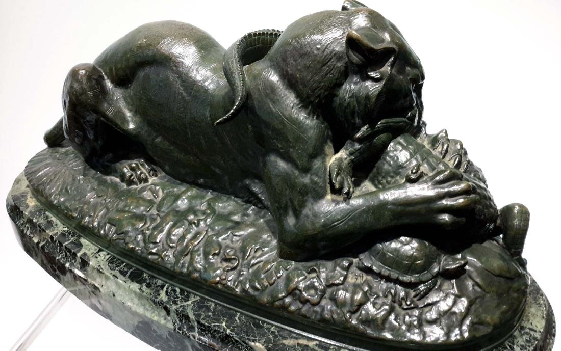 "Antoine-Louis Barye, ""Tiger Devouring a Gavial,"" Bronze - 4"