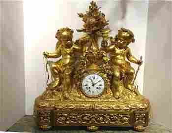 Monumental French Gilt Bronze Clock, circa 1860