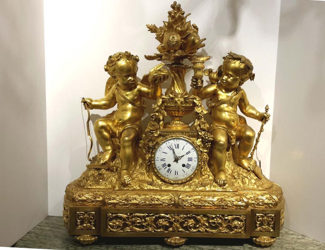 Monumental French Gilt Bronze Clock, circa 1860